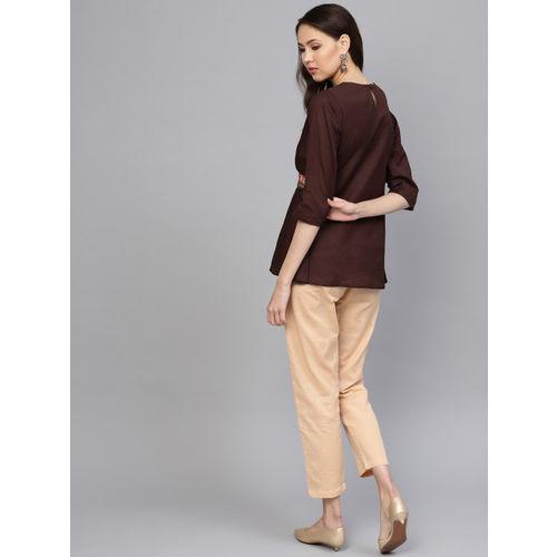 Indo Era Women Coffee Brown & Beige Solid Kurti with Trousers