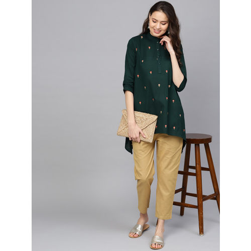 Indo Era Women Green & Beige Embroidered Kurti with Trousers