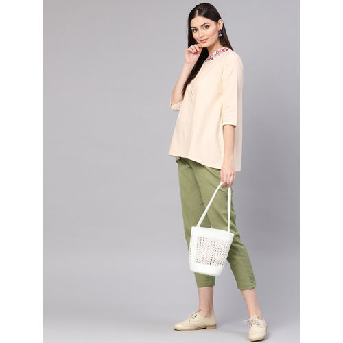 Indo Era Women Beige & Green Solid Kurti with Trousers