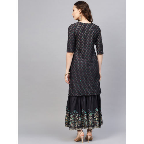 Indo Era Women Charcoal Grey & Golden Foil Print Kurta with Sharara