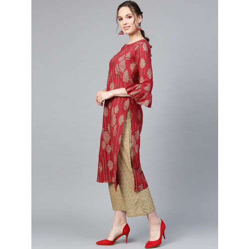 Indo Era Women Red & Golden Foil Print Kurta with Palazzos