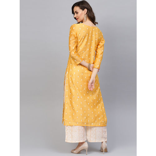 Indo Era Women Yellow & Off-White Embroidered Kurta with Palazzos