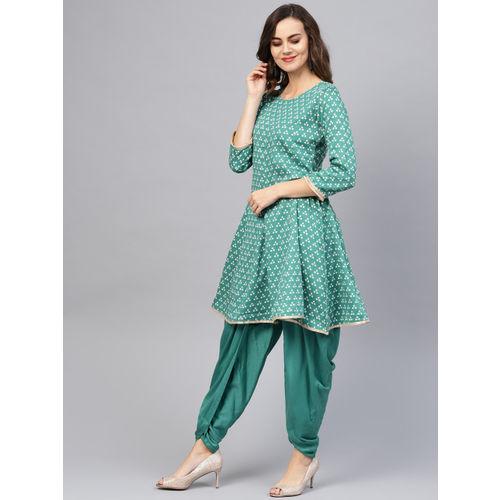 Indo Era Women Green & Off-White Bandhani Print Kurta with Dhoti Pants