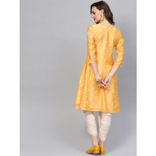 Indo Era Women Yellow & Off-White Embroidered Kurta with Dhoti Pants