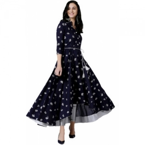 Archna Tex Navy Blue Rayon Festive & Party Printed Kurti