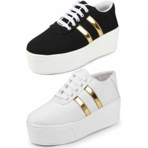 Shoefly Combo-(2)-1044-993 White & Black Solid Sneakers