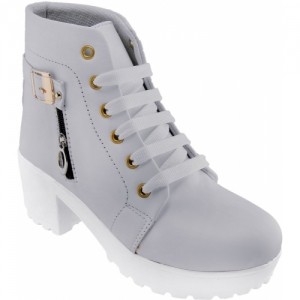 Dicy Grey Synthetic Leather Stylish Look Boots