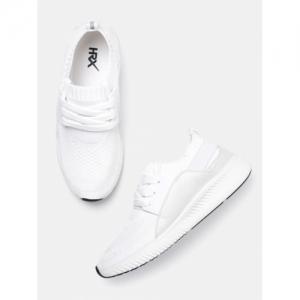 HRX by Hrithik Roshan White Woven Design Sneakers