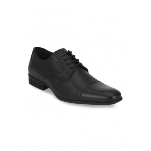 Red Tape Black Solid Formal Leather Shoes