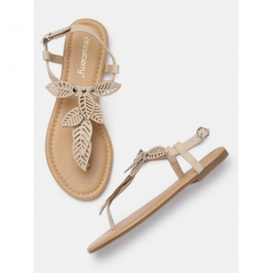 DressBerry Beige Synthetic Solid Open Toe Sandals