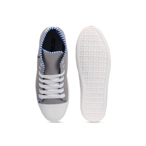Shoetopia Grey & White Canvas Mid-Top Sneakers