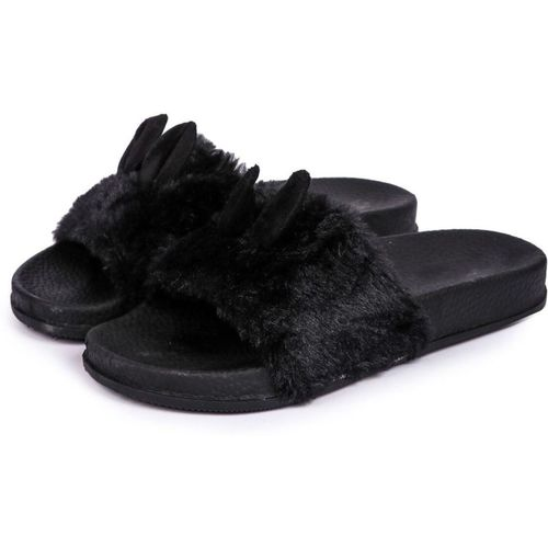 Brauch Black Fur Bunny Sliders Slides