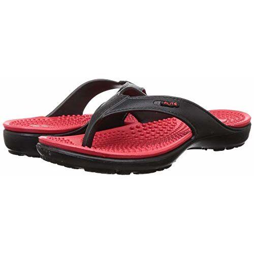 FLITE Black & Red Rubber Slipo On Flip-Flops