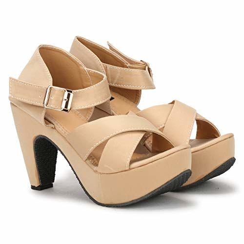 Denill Beige Comfortable Block Heels Sandal
