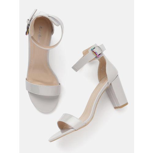 Mast & Harbour Women Grey Solid Heeled Sandals
