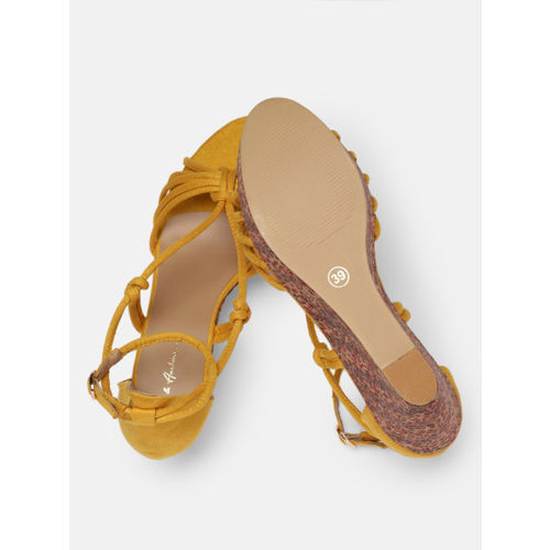 Mast & Harbour Women Yellow Printed Wedges