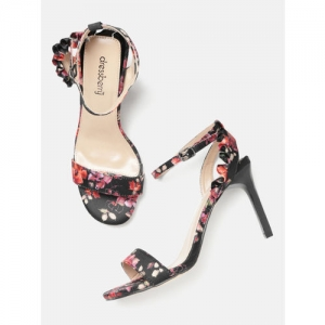 DressBerry Women Black & Pink Floral Print Heels