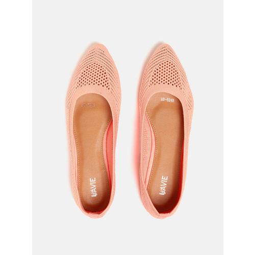 Lavie Women Peach-Coloured Woven Design Ballerinas