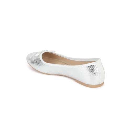 Allen Solly Women White Textured Leather Ballerinas