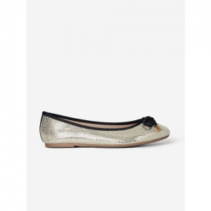 DOROTHY PERKINS Women Gold-Toned Snakeskin Textured Wide Fit Ballerinas