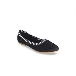 Flat n Heels Women Black Textured Mesh Ballerinas