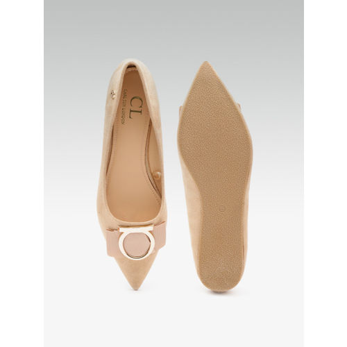 Carlton London Women Beige Solid Ballerinas