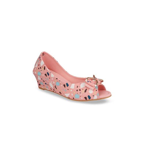 Shoetopia Women Pink & Navy Blue Printed Peep Toe Wedges