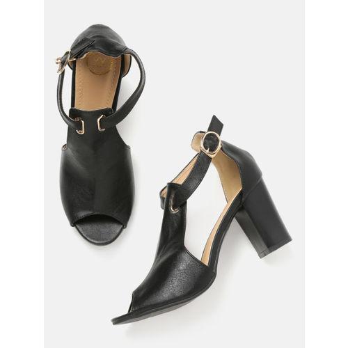 20Dresses Women Black Solid Peep Toes Heels