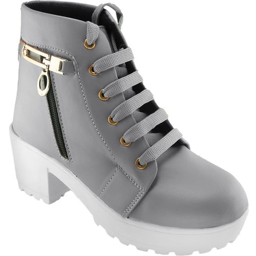 CARRITO Synthetic Leather Casual Partywear Boots Shoes For Women And Girls Boots For Women(Grey)