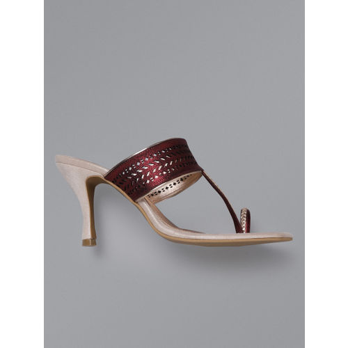 Anouk Women Burgundy Laser Cut One Toe Heels