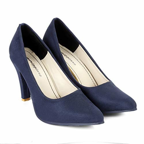 meriggiare Women Synthetic Suede Comfortable Slip-on Stiletto Heel Suitable for Evening/Party/Festive Occasions Pointed Toe Heels- Blue
