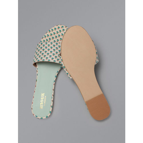 Anouk Women Off-White & Sea Green Printed Open Toe Flats
