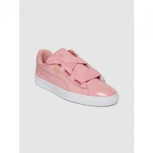Puma Women Pink Basket Heart Patent Sneakers