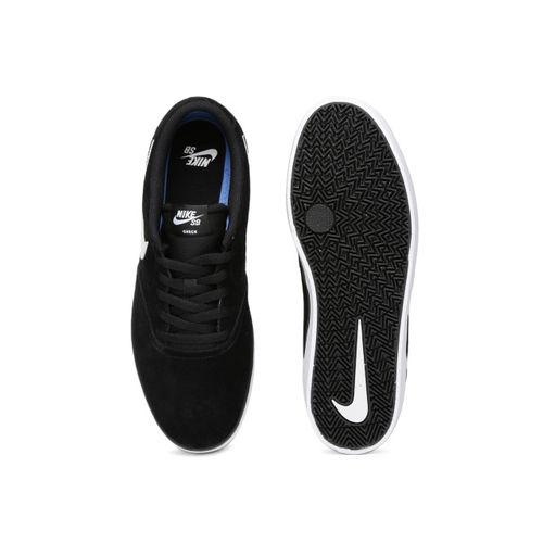 Nike Men Black Skateboarding Check Solar Suede Sneakers