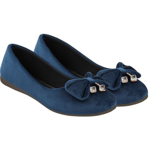 Shoetopia Belly-Velvat Bellies For Women(Blue)