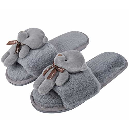 Cassiey Latest and Comfortable Indoor & Outdoor Fur Slippers for Women & Girls Slippers flip Flop Grey