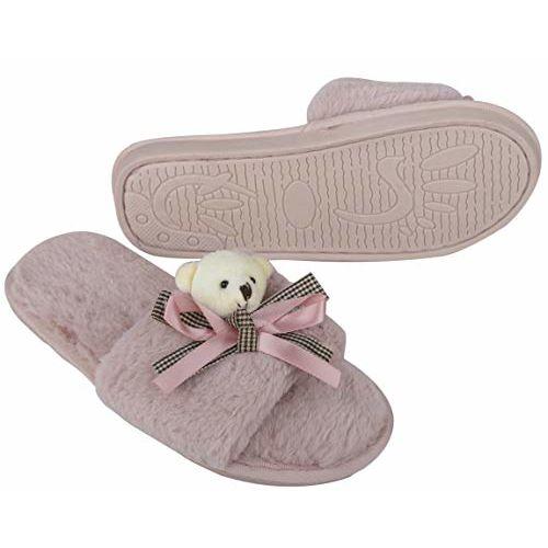 Irsoe Fur Comfortable Indoor/Outdoor Soft Bottom Slippers |Womens Flipflop |Womens Fancy Slippers |Girls Slippers flip Flop- Peach