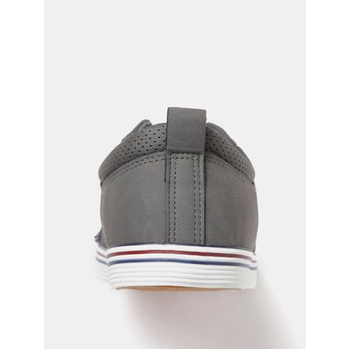 Mast & Harbour Men Charcoal Grey Solid Sneakers with Perforated Detail