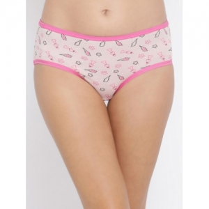 Clovia Women Pink & Black Printed Hipster Brief PN3184P22S