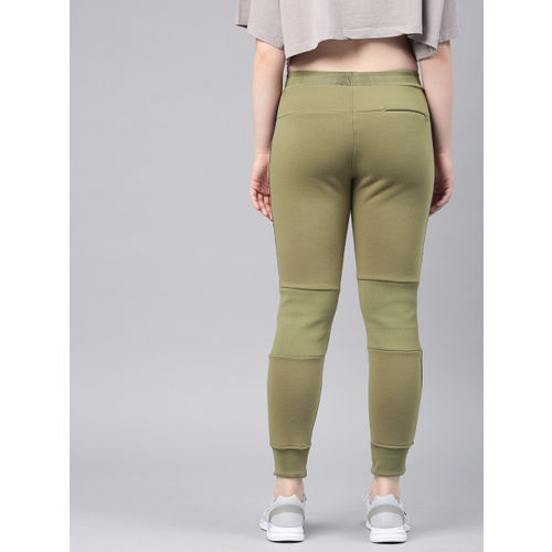 HRX by Hrithik Roshan Women Olive Green Solid Slim Fit Joggers