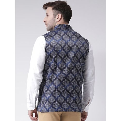 Hangup Men Blue Printed Nehru Jacket