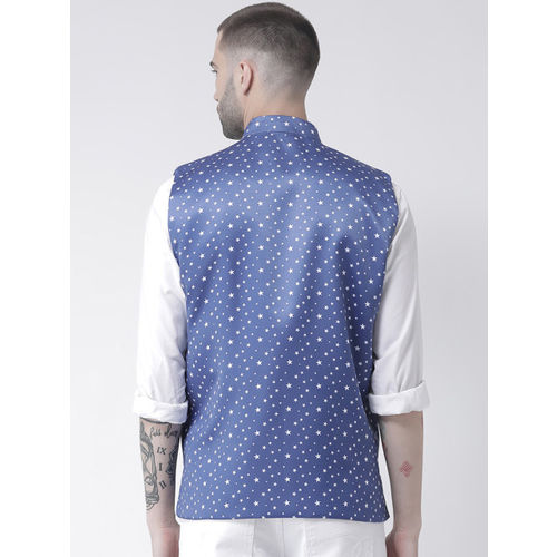 Hangup Men Blue & White Printed Nehru Jacket