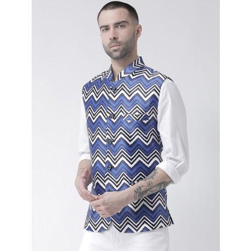 Hangup Men Blue Printed Linen Nehru Jacket