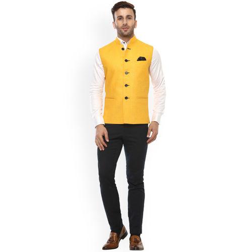 Hangup Men Yellow Solid Nehru Jacket