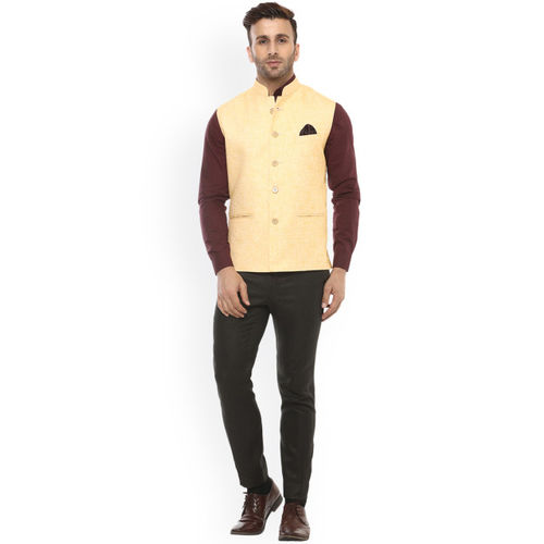 Hangup Men Yellow Self-Design Nehru Jacket