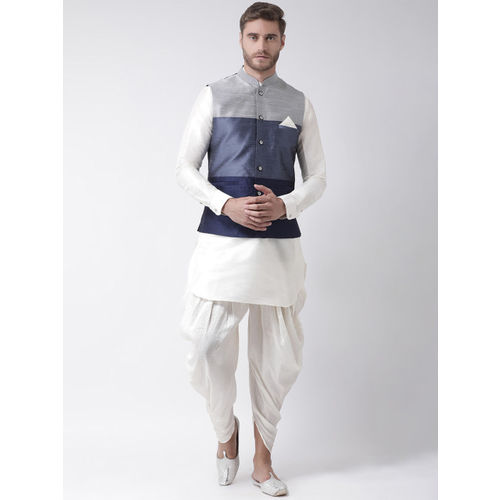 DEYANN Men Blue & Grey Colourblocked Nehru Jacket
