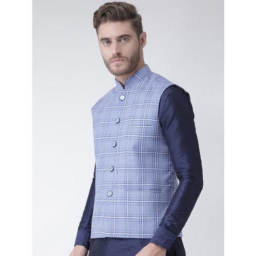DEYANN Men Blue Checked Woven Nehru Jacket
