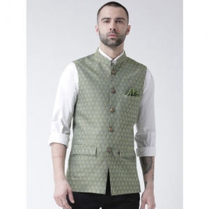 KISAH Men Green Woven Design Nehru Jacket