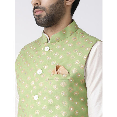 KISAH Men Green Printed Nehru Jacket