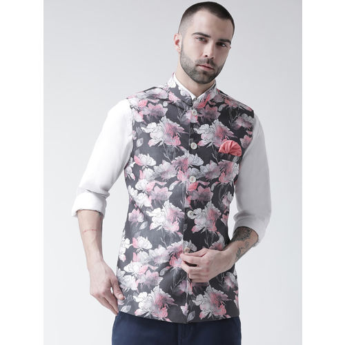 KISAH Men Grey Printed Nehru Jacket